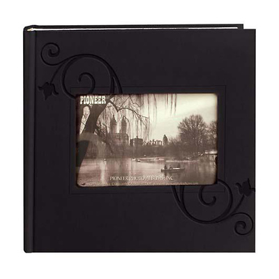 Embossed Leatherette Frame Photo Album, Leatherette Covers, Black Floral Image 0