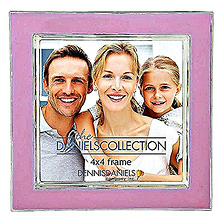 Silver Plate Enamel 4x4 in. Rosy Pink Photo Frame Image 0