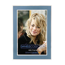 4X6 In. Shiny Silver W/Blue Inlay Photo Frame Image 0