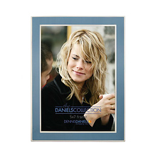 5X7 In. Shiny Silver W/Blue Inlay Photo Frame Image 0