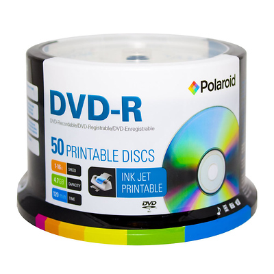 DVD-R 4.7GB/120-Minute 16x White Inkjet Hub Printable Recordable DVD Disc (50-Pack Spindle) Image 0
