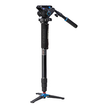 A48TDS6 Series 4 Aluminum Monopod with 3-Leg Locking Base and S6 Video Head Image 0