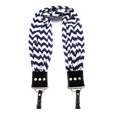 Scarf Camera Strap (Navy & White Chevron) Image 0