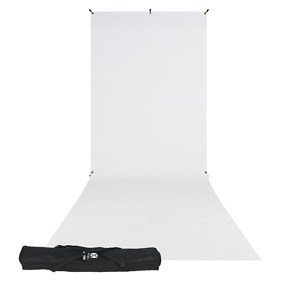 X-Drop Wrinkle-Resistant Backdrop Kit Rich White Sweep (5 x 12 ft.) Image 0