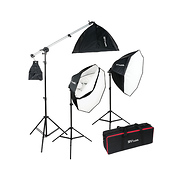 OctaBella 1500W 3-Light LED Softbox Kit with Boom Arm