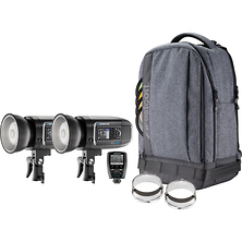 FJ400 400Ws Strobe with AC/DC Battery 2-Light Backpack Kit Image 0