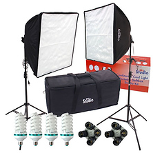 Fluorescent Dual Square Folding Deluxe High Power Softbox Photography Lighting Kit Image 0