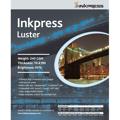 Luster 240gsm 8.5 x 11 in. - 100 sheets Image 0
