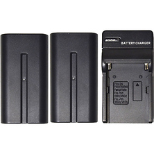2-Pack of NP-F970 Lithium-Ion Batteries with Charger for LED Lights Image 0