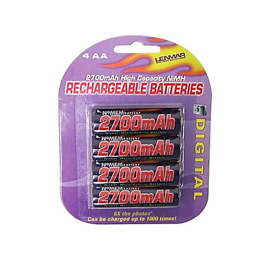 AA Size Rechargeable Nickel-Metal Hydride Batteries (4 Pack) Image 0